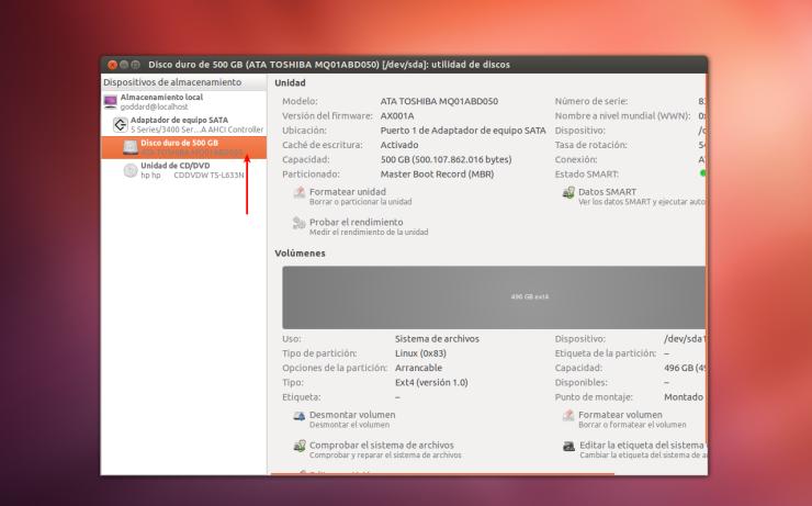 Utilidad de Discos en Ubuntu