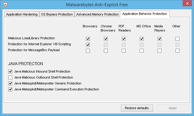 Malwarebytes Anti-Exploit Application behavior-protection