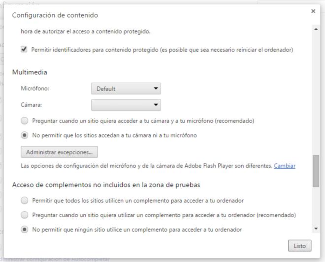 Acceso al Panel de Control de Flash desde Chrome