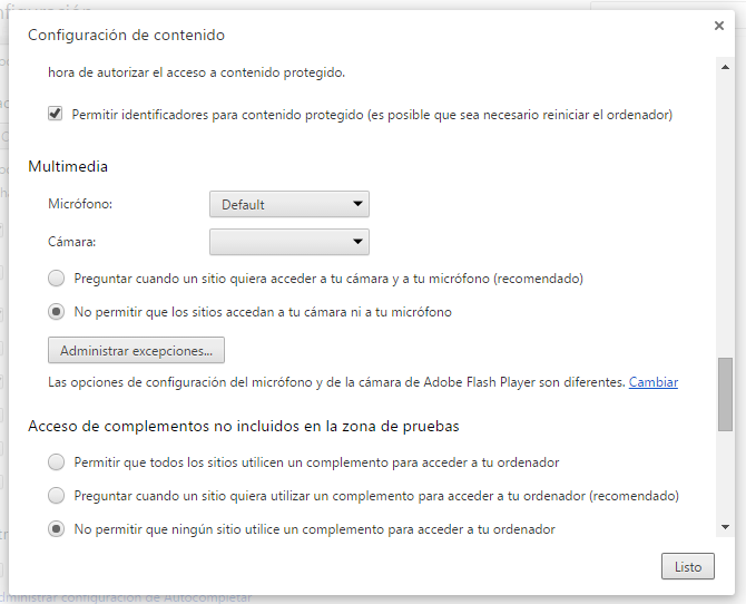 Acceso al Panel de Control de Flash desde Chrome