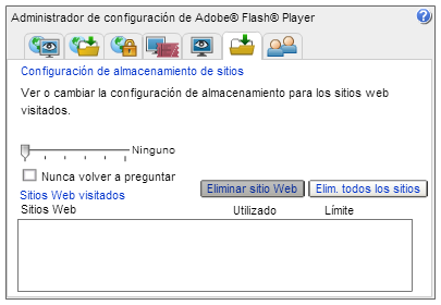 Configuración de Almacenamiento de Sitios de Flash