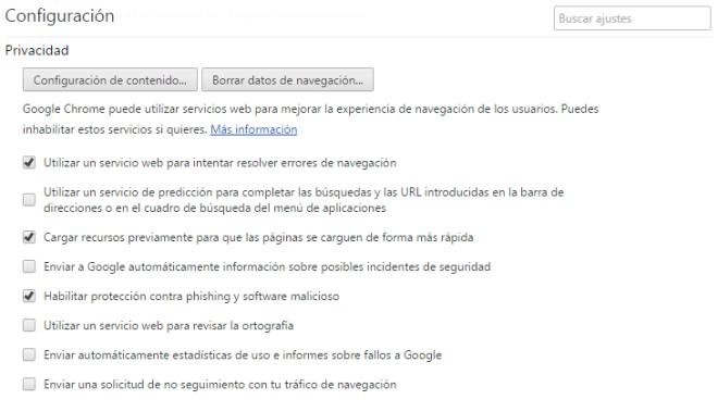 Configuracion de Privacidad de Chrome