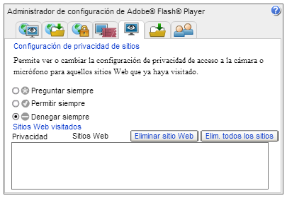 Configuración de Privacidad de Sitios de Flash