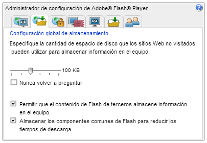 Configuracion Global de Almacenamiento de Flash