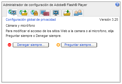 Configuración Global de Privacidad de Flash
