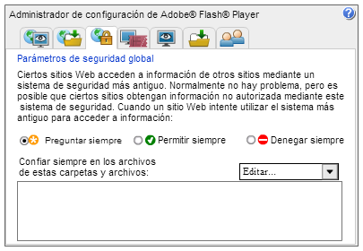Parámetros de Seguridad Global de Flash
