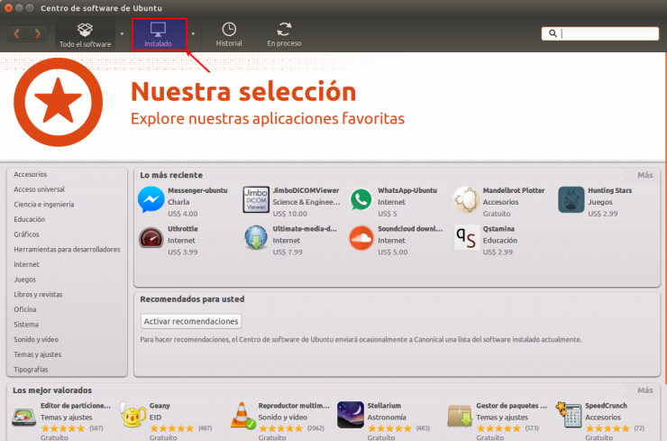 Ubuntu Software Center Instalado