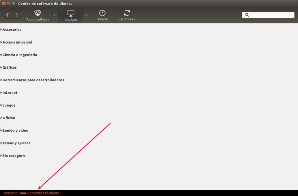 Ubuntu Software Center Mostrar Elementos Tecnicos