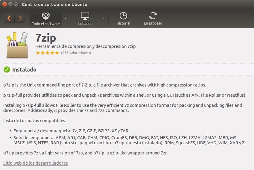Instalar p7zip-full en Ubuntu Software Center