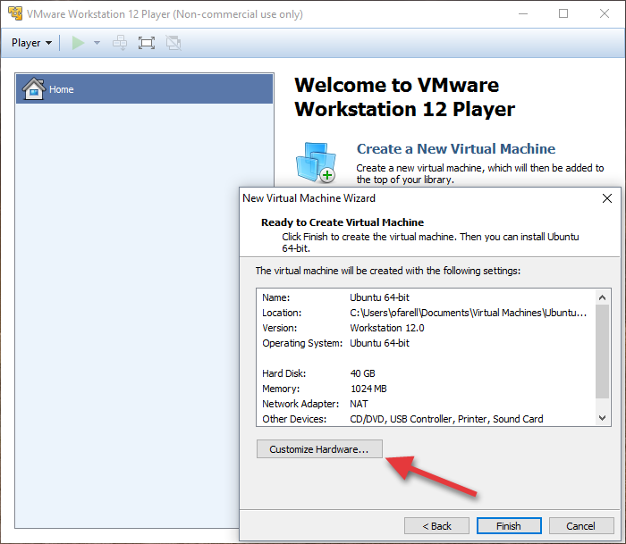 VMWare: Customize Hardware
