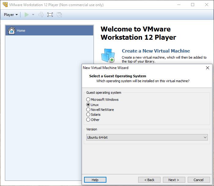 VMWare: Seleccionar Guest OS