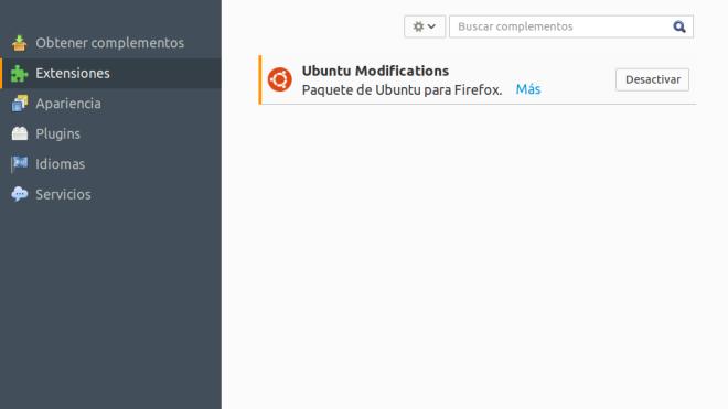 Extensión Ubuntu Modifications en Firefox
