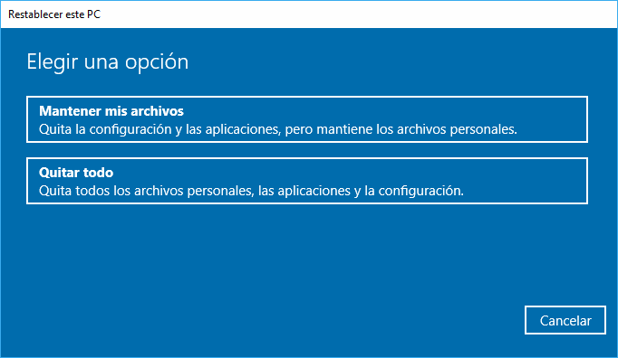 Windows 10: Restablecer PC Opciones