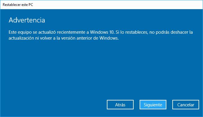 Windows 10: Restablecer PC Quitar Todo Advertencia