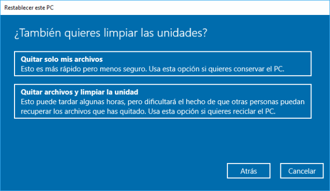 Windows 10: Restablecer PC Quitar Todo