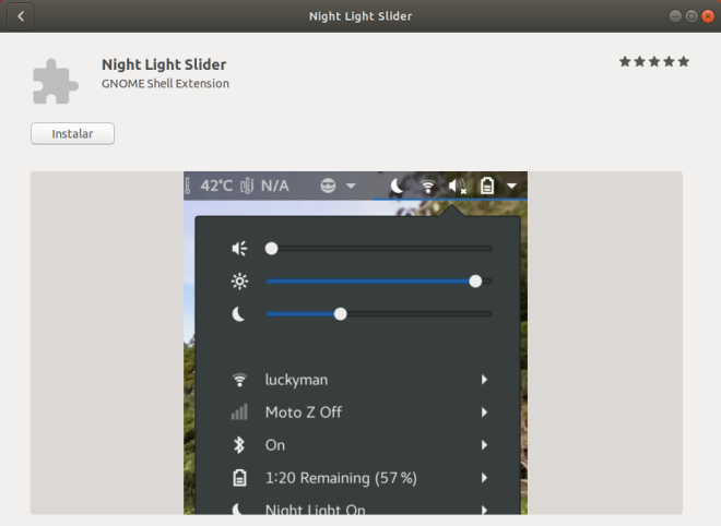 GNOME Shell Extension. Night Light Slider