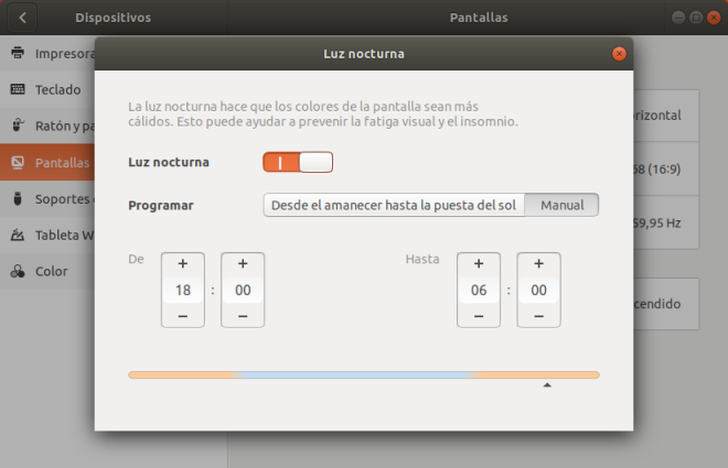 Ubuntu. Configuración Pantallas Luz Nocturna