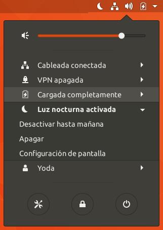 Ubuntu. Luz Nocturna Controlar Estado