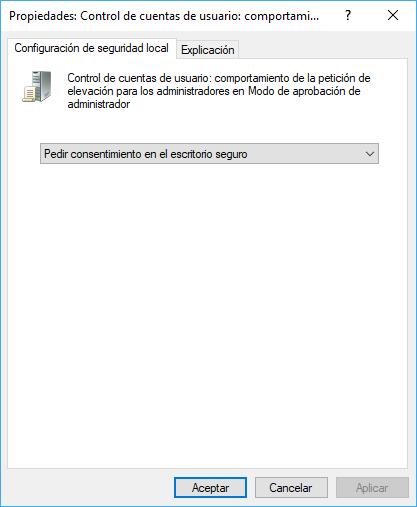 Windows. Secpol UAC Configurar el Comportamiento de Elevación para Administradores