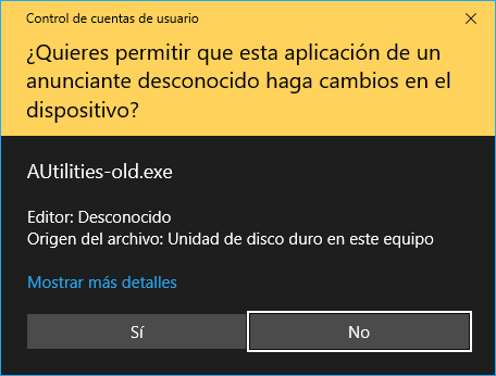 Windows UAC. Aviso