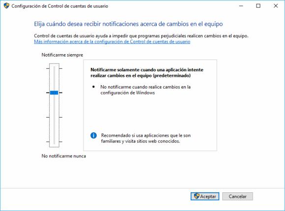 Windows. UAC Configurar Nivel de Alerta