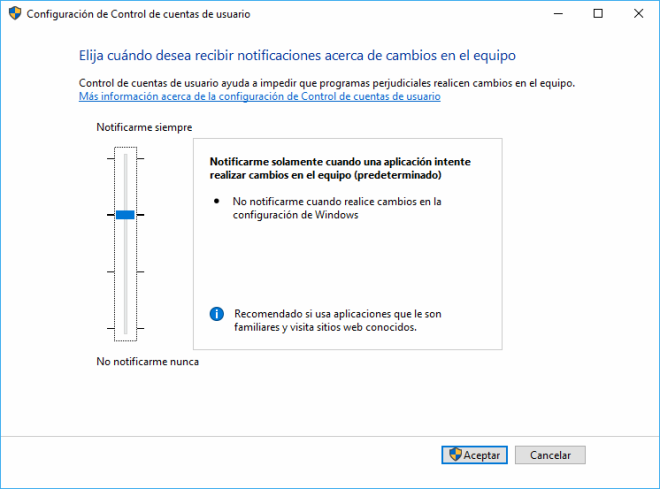 Windows. UAC Configurar Nivel de Alerta