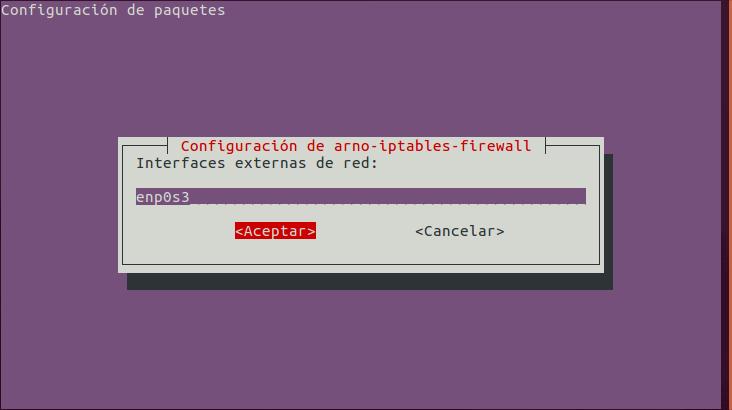 Arno Iptables Firewall: Configurar Interfaz de Red Externa