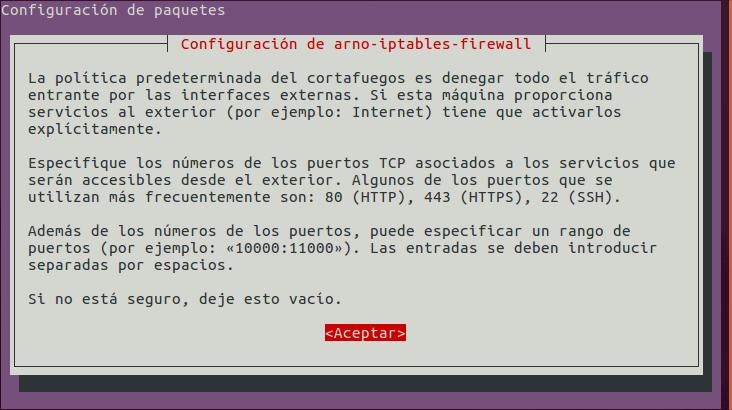 Arno Iptables Firewall: Configurar Puertos TCP a Abrir