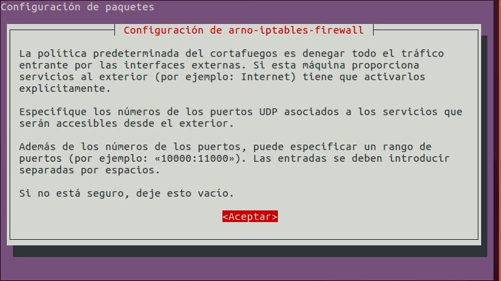 Arno Iptables Firewall: Configurar Puertos UDP a Abrir