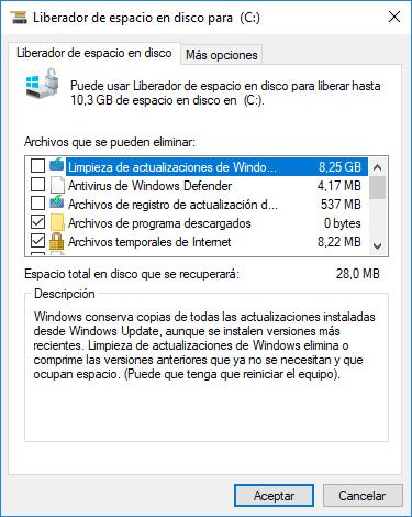 Windows: Liberador de Espacio en Disco. Archivos de Sistema