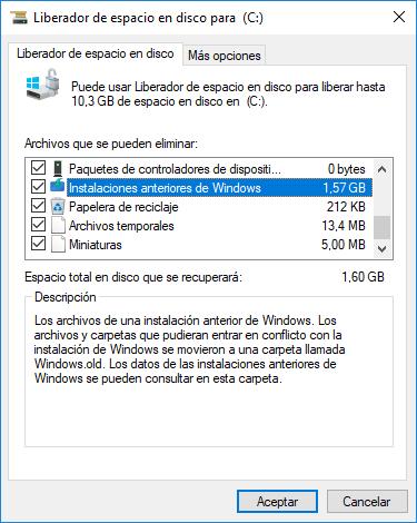 Windows: Liberador de Espacio en Disco. Instalaciones Anteriores