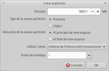Instalación de Xubuntu: Crear Partición Primaria