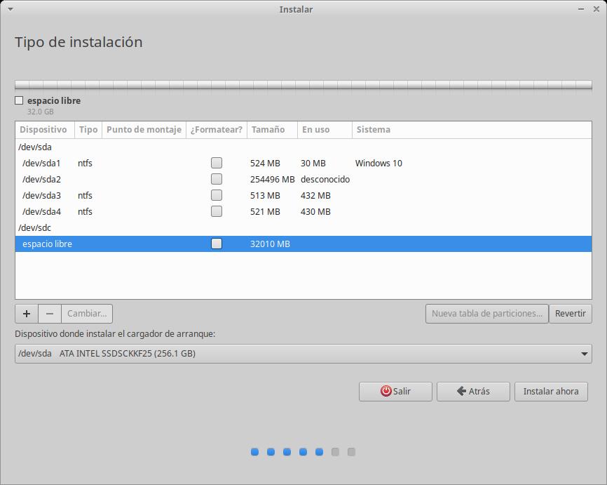Instalación de Xubuntu: Crear Tabla de Particiones