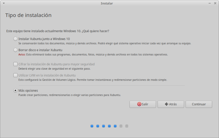 Instalación de Xubuntu: Seleccionar Tipo de Instalación