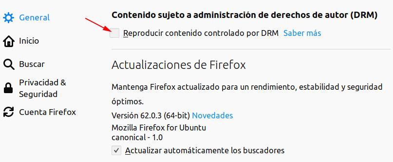 Firefox. Configuración Reproducción Contenido DRM
