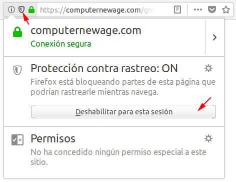 Firefox. Desactivar Protección Contra Rastreo