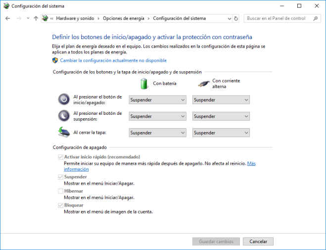 Windows 10. Desactivar Inicio Rápido