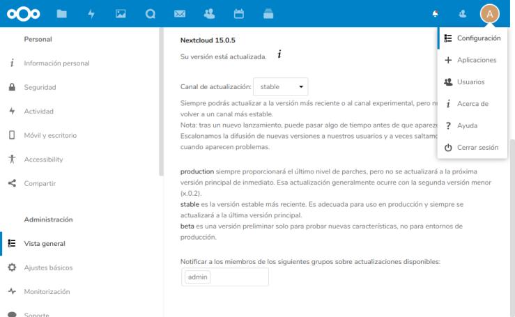 Nextcloud Admin Configuración