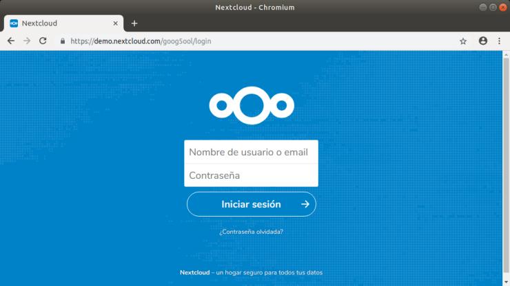 Nextcloud. Interfaz Web