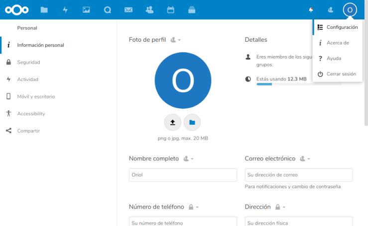 Nextcloud Usuario Configuración