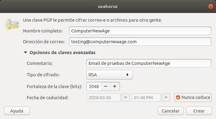 Seahorse. Configurar Par de Claves PGP