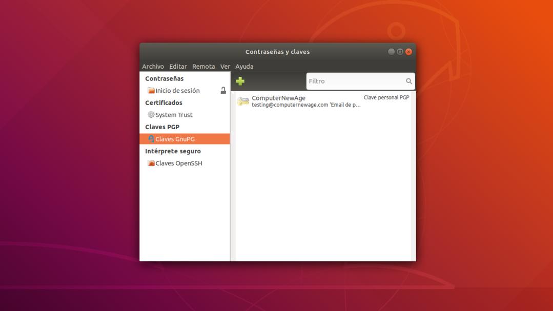 El Depósito de Claves Seahorse en Linux. Administración de Claves GPG