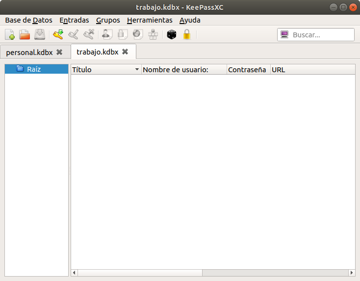 KeePassXC. Ventana con Bases de Datos Multiples
