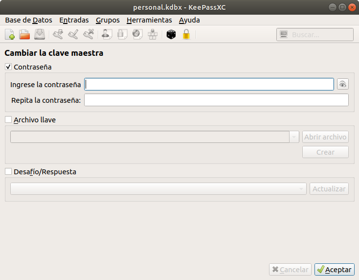 KeePassXC. Crear una Base de Datos